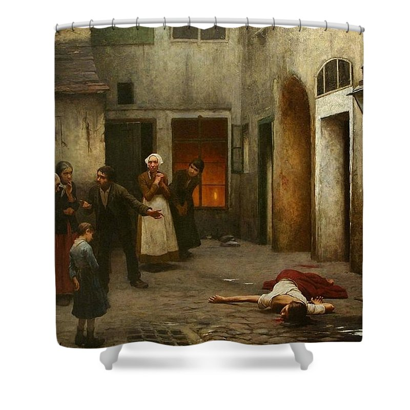 Jakub Schikaneder Shower Curtain Featuring The Painting Murder In House By
