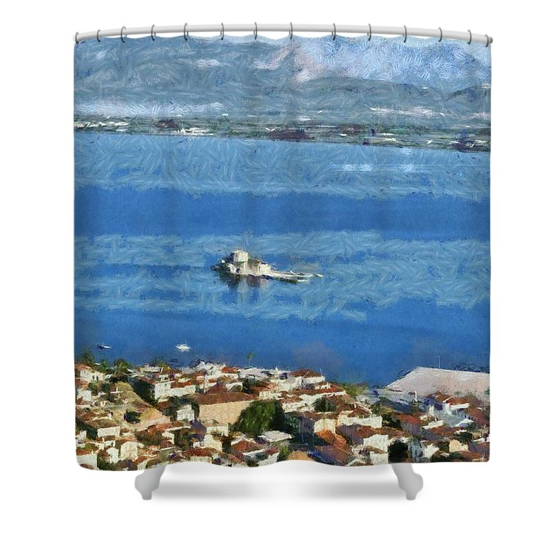 Nafplio; Nafplion; Old; City; Town; Peloponnesus; Peloponnese; Argolis; Argolida; Greece; Greek; Hellas; Europe; European; Vacation; Holidays; Touristic; Tourism; Travel; Trip; Voyage; Journey; Sea; Bourtzi Shower Curtain featuring the painting Nafplio Town And Bourtzi Fortress by George Atsametakis