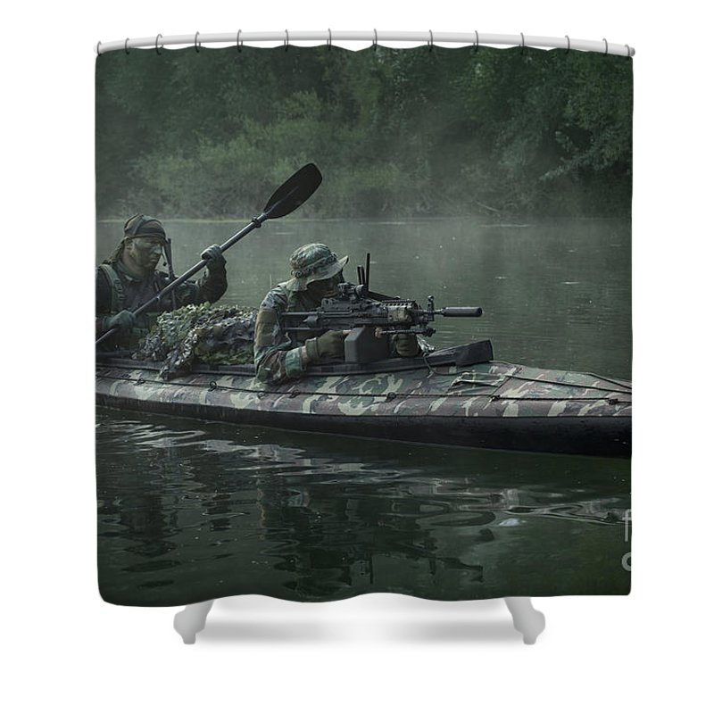 Special Operations Forces Shower Curtain featuring the photograph Navy Seals Navigate The Waters by Tom Weber