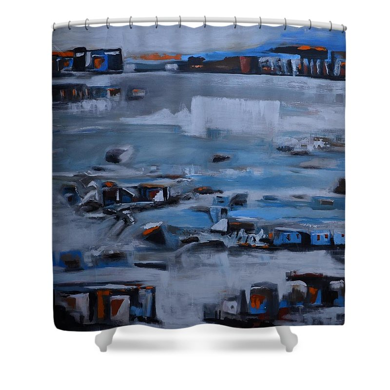 Shower Curtain featuring the painting No Name by Issam Youssef