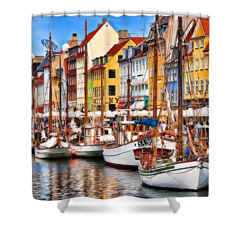Europe Shower Curtain featuring the photograph Nyhavn by Dennis Cox