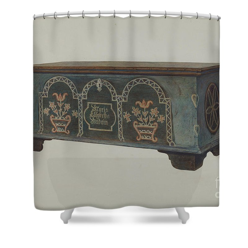 Shower Curtain featuring the drawing Pa. German Chest by Carl Strehlau