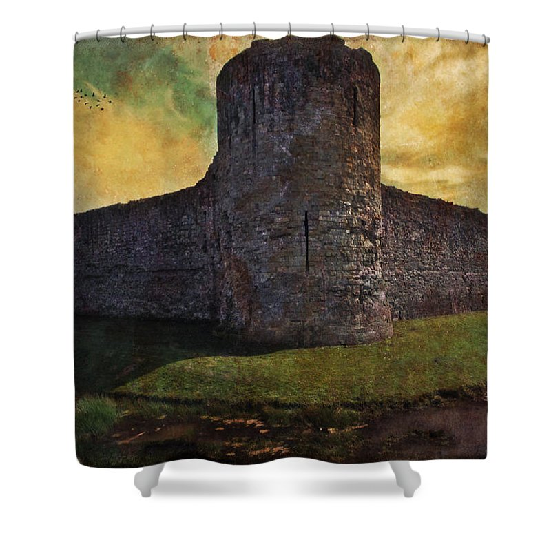 Castle Shower Curtain featuring the photograph Pevensey Castle Ruins by Chris Lord