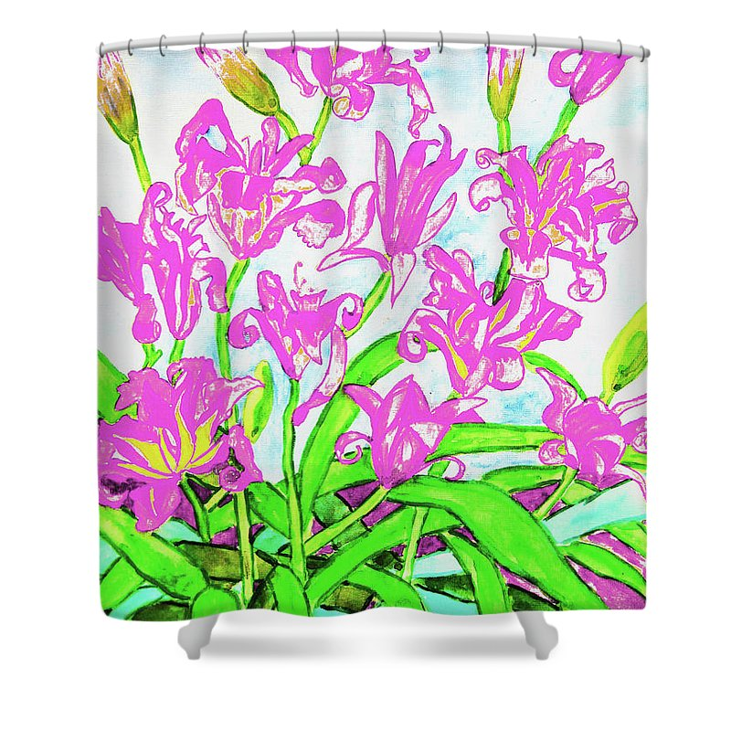Art Shower Curtain featuring the painting Pink Daily Lilies by Irina Afonskaya