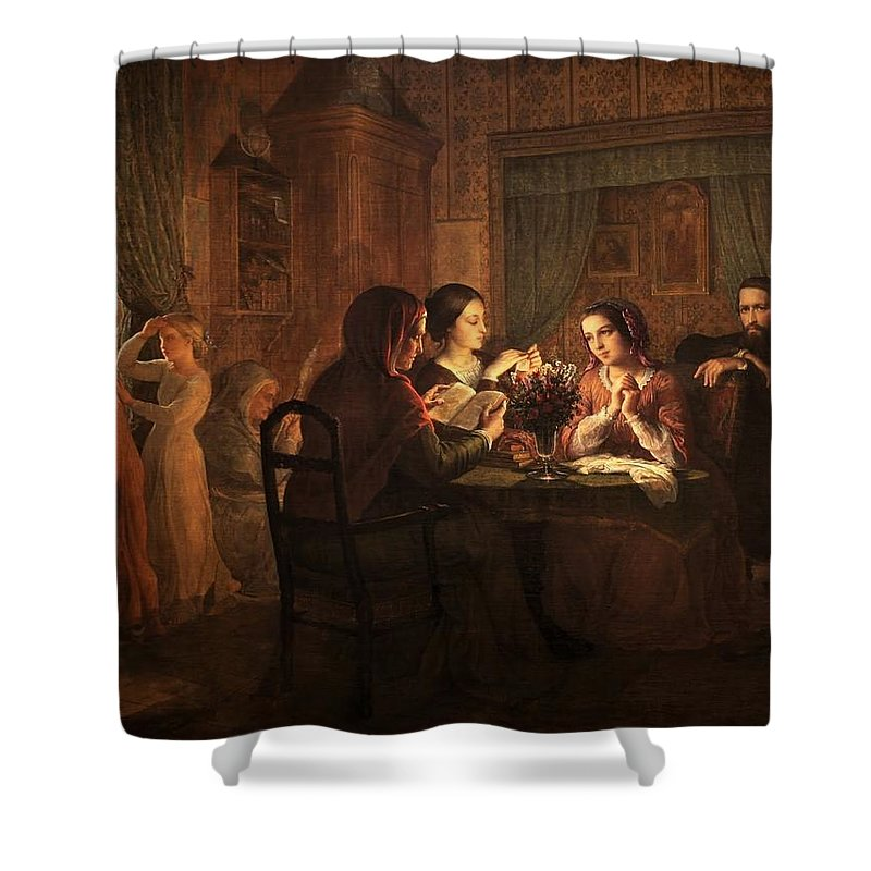 Louis Janmot - Poem Of The Soul 06 - Father's House Shower Curtain featuring the painting Poem Of The Soul by MotionAge Designs