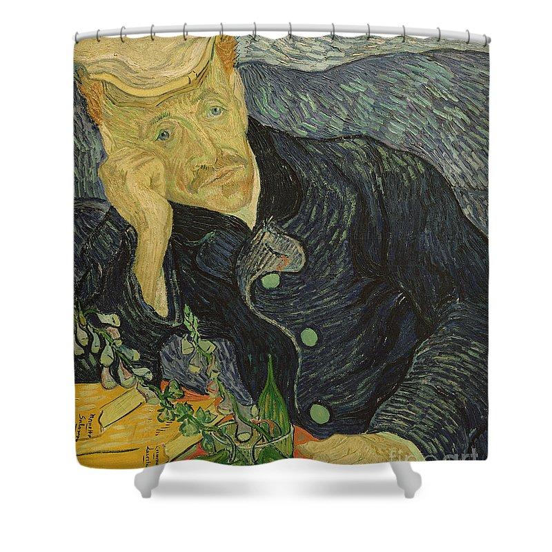 Vincent Van Gogh Shower Curtain featuring the painting Portrait Of Dr Gachet by Vincent van Gogh