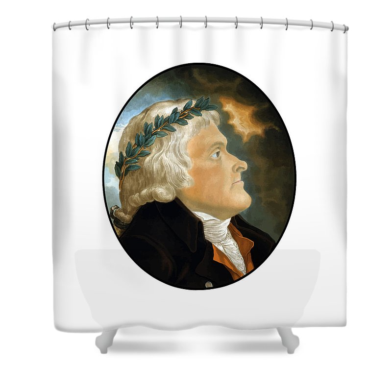 Thomas Jefferson Shower Curtain featuring the painting President Thomas Jefferson - Two by War Is Hell Store