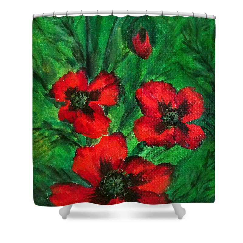 Poppies Shower Curtain featuring the painting 3 Red Poppies by Sofia Metal Queen