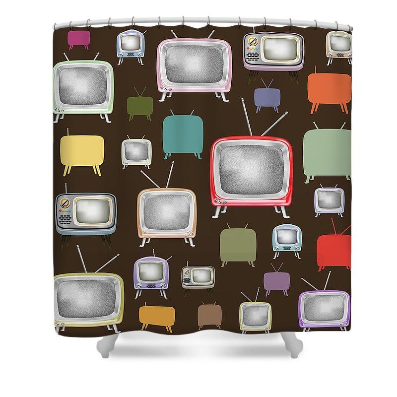 Analog Shower Curtain featuring the painting retro TV pattern by Setsiri Silapasuwanchai