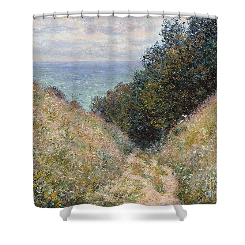 Claude Monet Shower Curtain featuring the painting Road At La Cavee. Pourville by Claude Monet