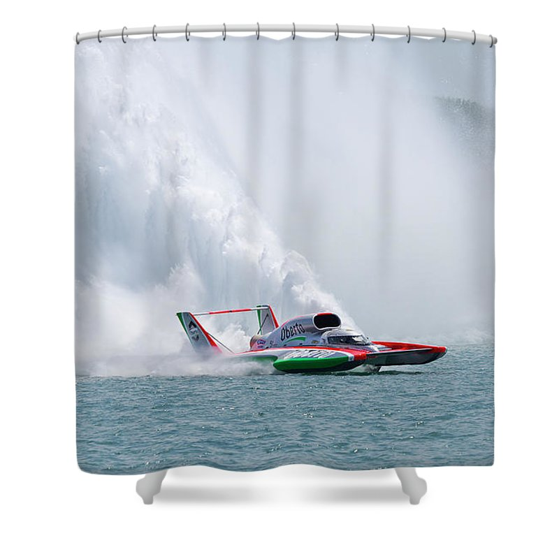 Annual Event Shower Curtain featuring the photograph Roostertail From Racing Hydroplanes Boats On The Detroit River For Gold Cup by Bruce Beck