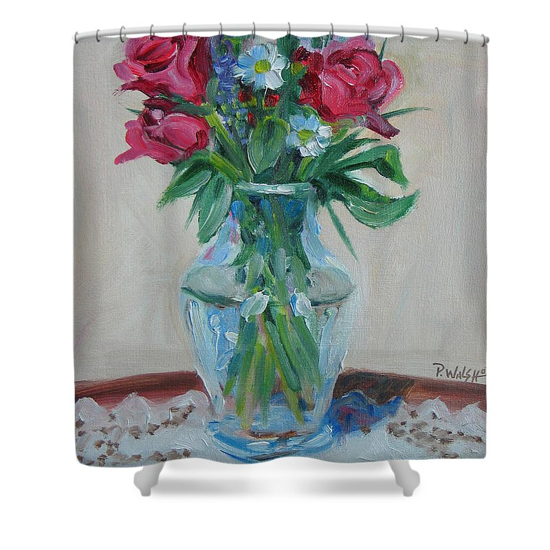 Roses Shower Curtain featuring the painting 3 Roses by Paul Walsh