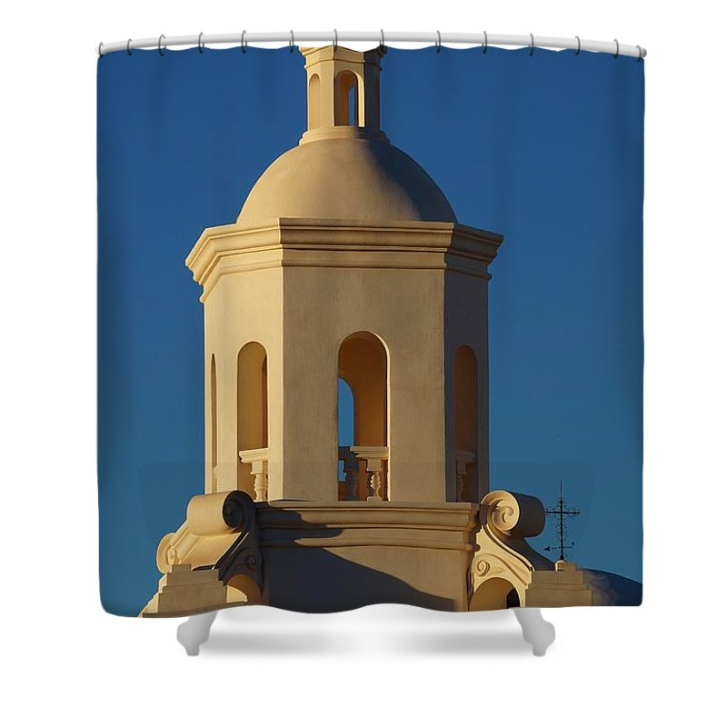Architecture Shower Curtain featuring the photograph San Xavier Del Bac by Dennis Boyd