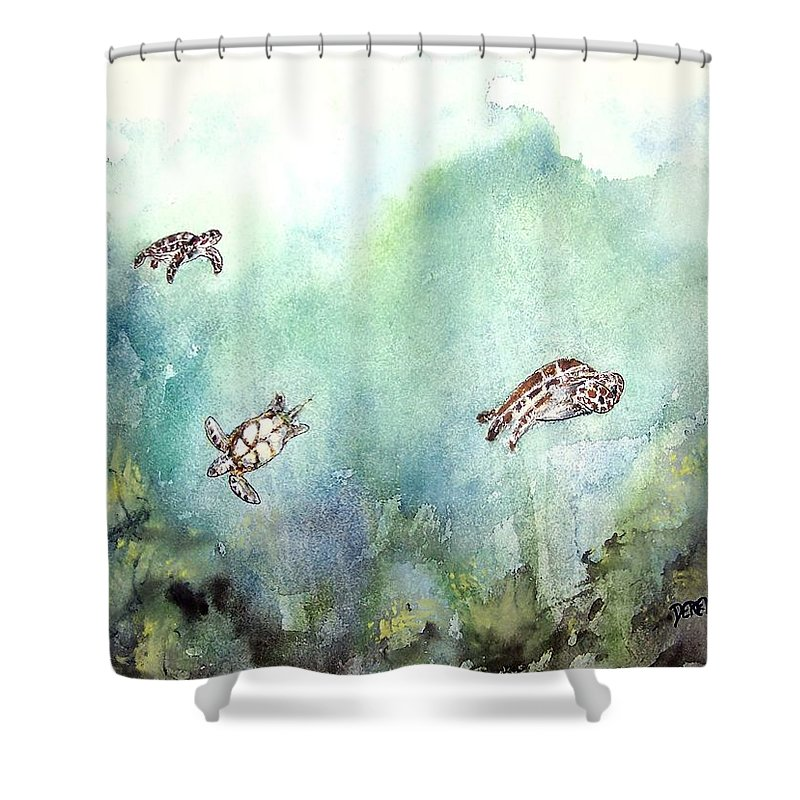 Turtle Shower Curtain featuring the painting 3 Sea Turtles by Derek Mccrea