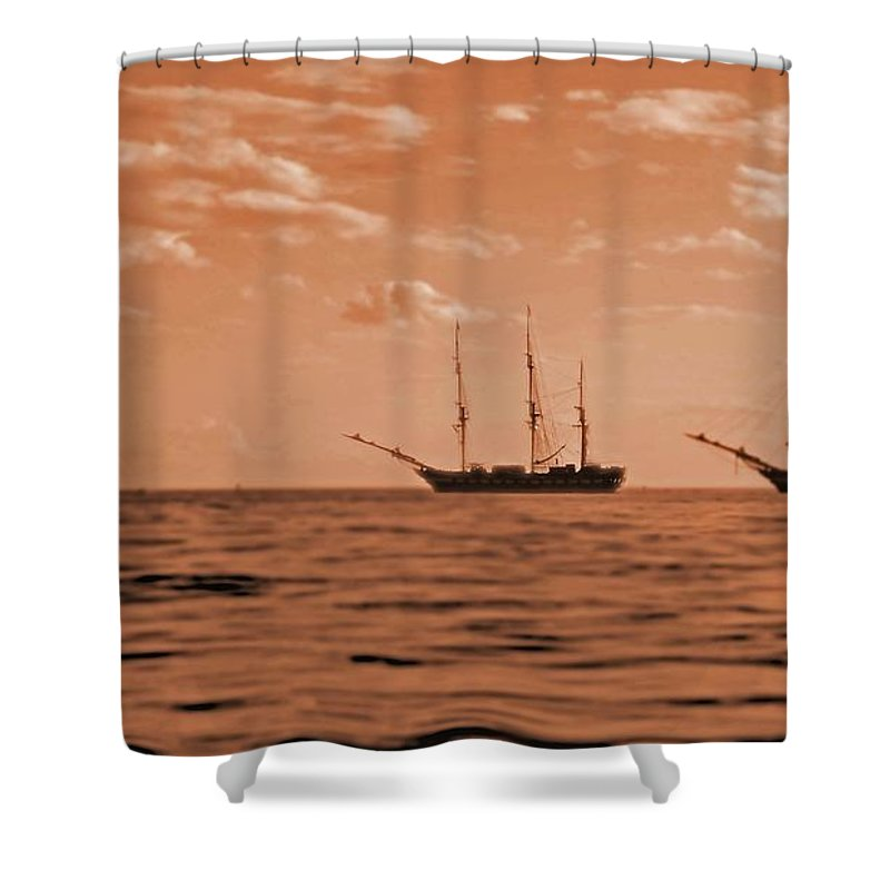 Gloucester Shower Curtain featuring the photograph 3 Ships Gloucester Harbor Photo Taken In 2016 From My Kayak by David Vincent