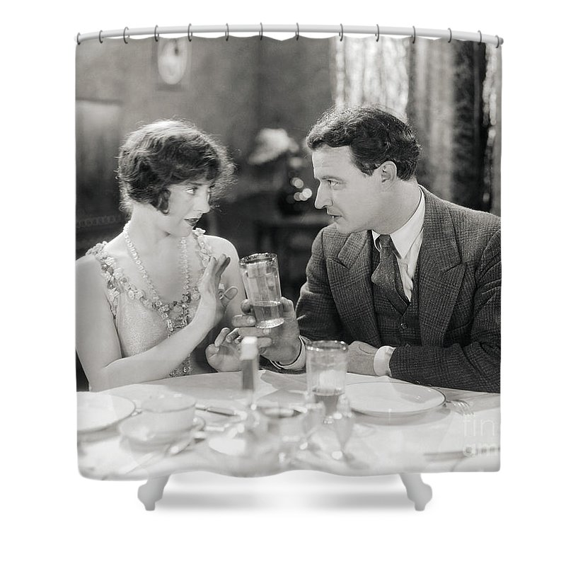 -drinking- Shower Curtain featuring the photograph Silent Film Still: Drinking by Granger