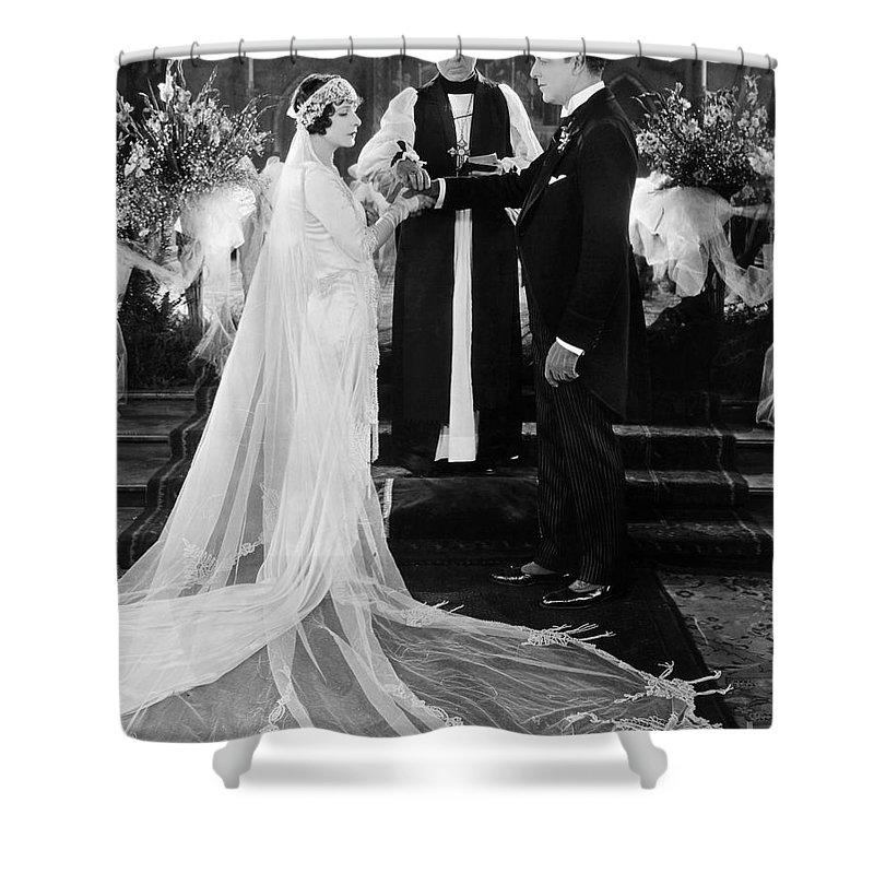 -weddings & Gowns- Shower Curtain featuring the photograph Silent Film Still: Wedding by Granger