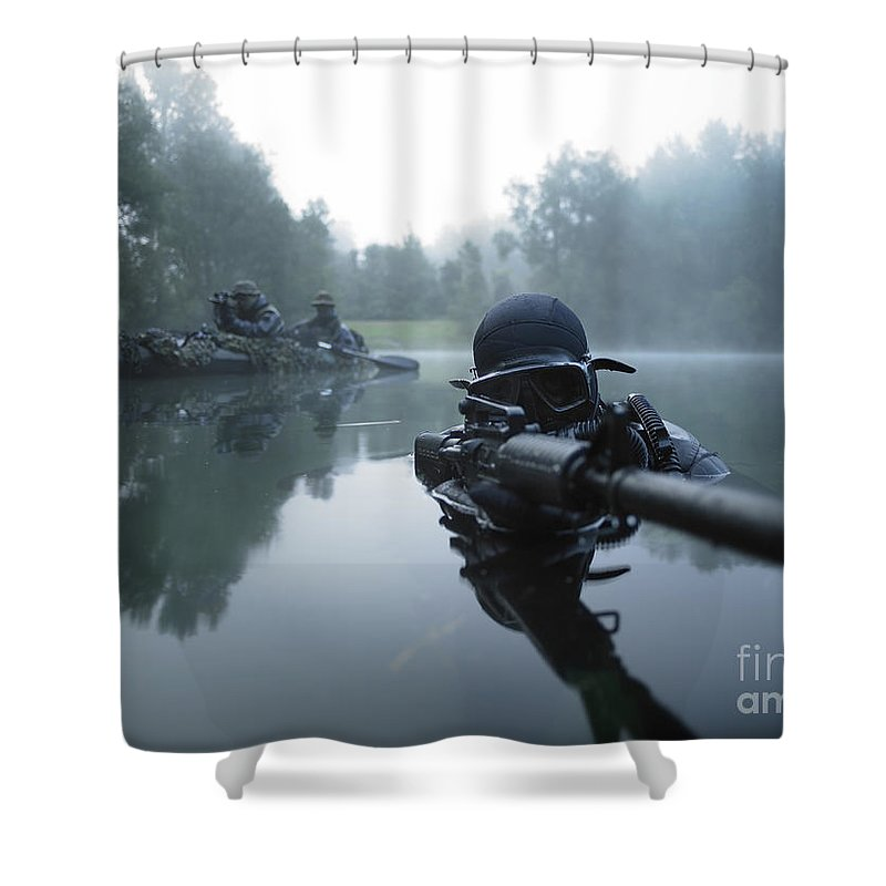 Special Operations Forces Shower Curtain featuring the photograph Special Operations Forces Combat Diver 3 by Tom Weber