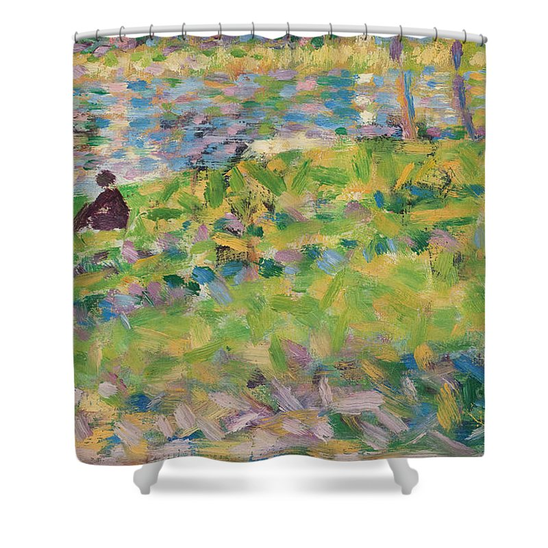 Landscape Shower Curtain featuring the painting Study For Sunday Afternoon On The Island Of La Grande Jatte by Georges Pierre Seurat