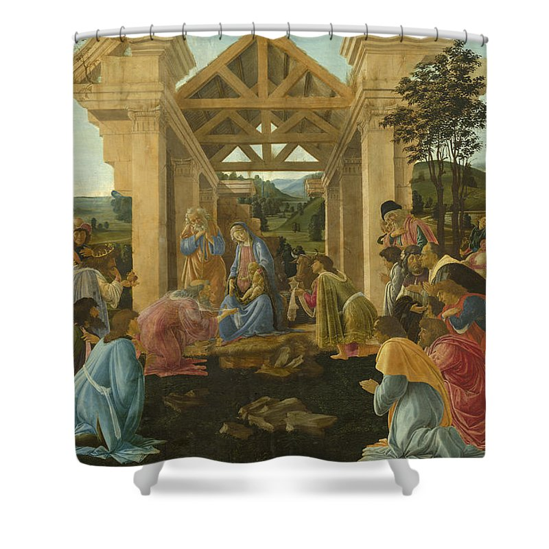 Sandro Botticelli Shower Curtain featuring the painting The Adoration Of The Magi by Sandro Botticelli