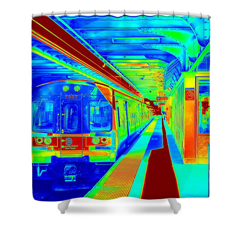 Colored Shower Curtain featuring the photograph Train Station Series by Rhona Lawrence