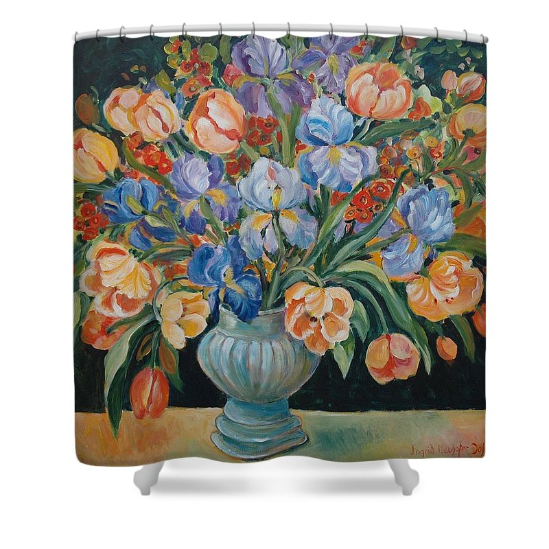 Still Life Shower Curtain featuring the painting Tulips by Alexandra Maria Ethlyn Cheshire