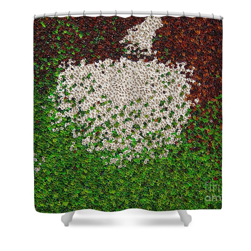 Abstract Shower Curtain featuring the painting Soft Green with Brown, Buff and White by Dean Triolo