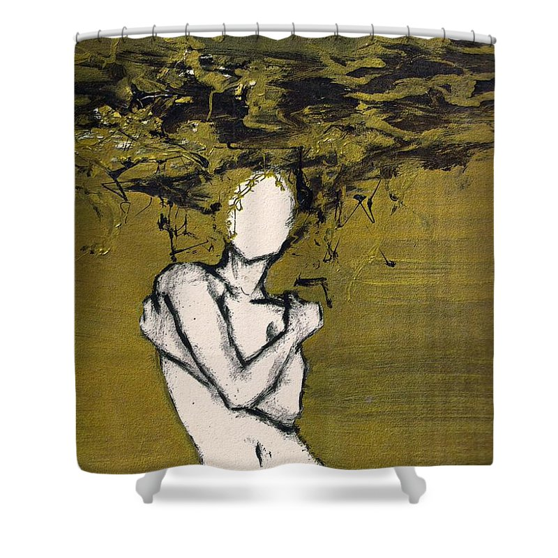 Gold Woman Hair Bath Nude Shower Curtain featuring the mixed media Untitled by Veronica Jackson