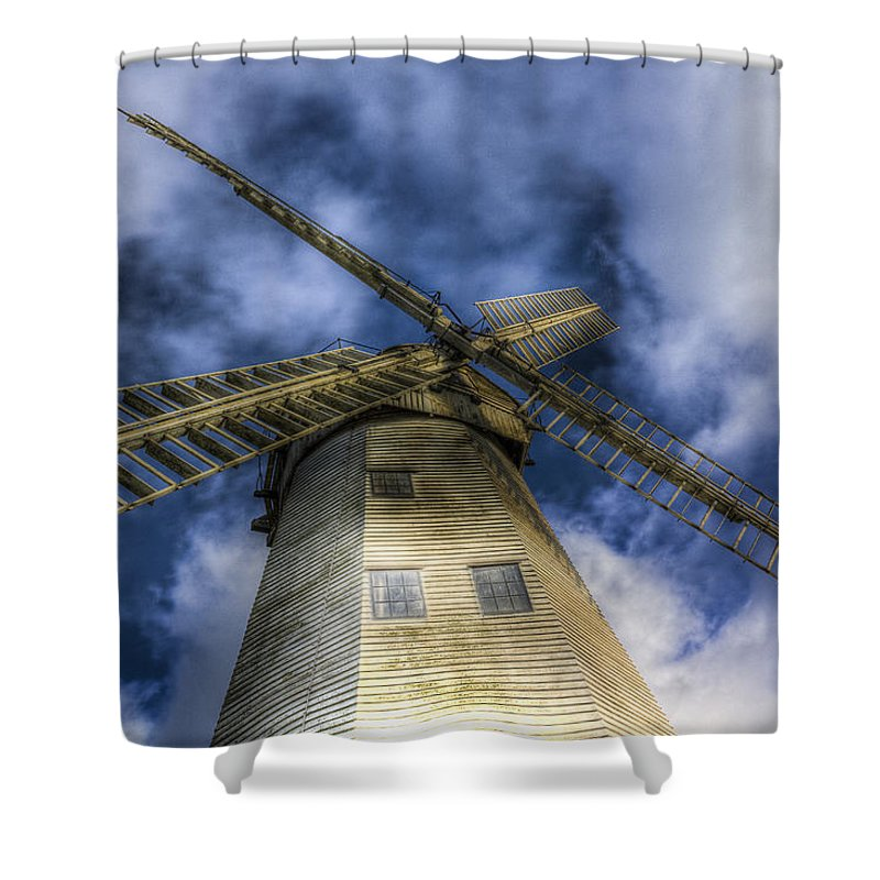 Windmill Shower Curtain featuring the photograph Upminster Windmill Essex by David Pyatt