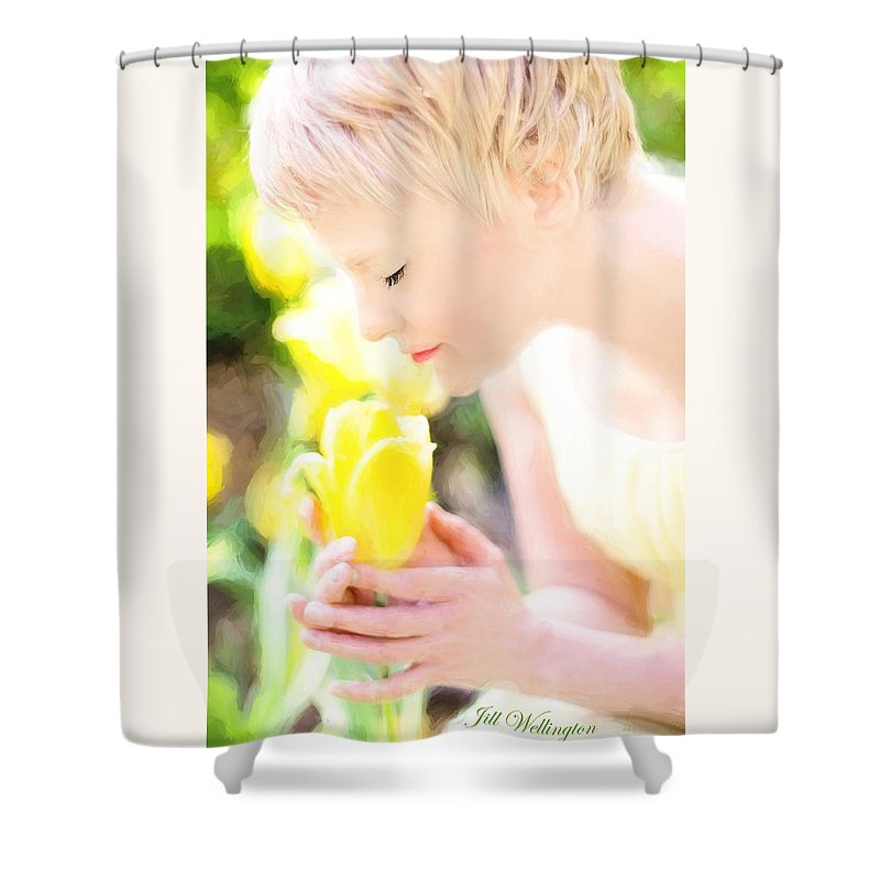 Vintage Val Shower Curtain featuring the digital art Vintage Val Spring Tulips by Jill Wellington