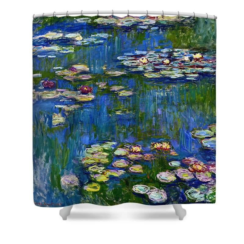 Blue Shower Curtain featuring the painting Water Lilies 1916 by Claude Monet