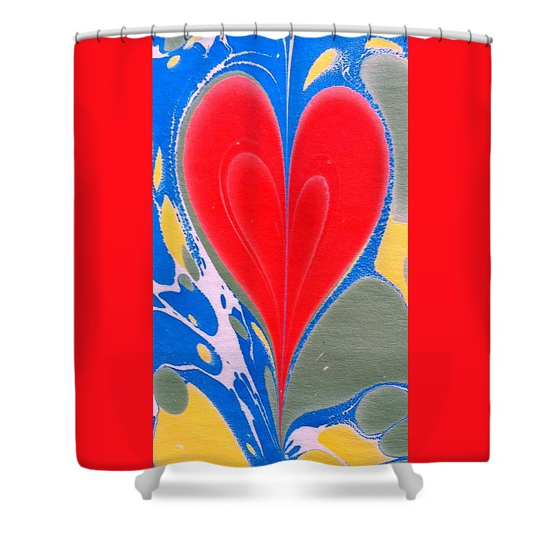 Heart Shower Curtain featuring the painting Water Marbling Art, Ebru by Dilan C