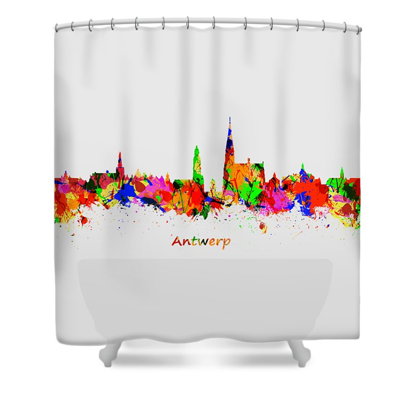 Antwerp Shower Curtain featuring the photograph Watercolor Art Print Of The Skyline Of Antwerp In Belgium by Chris Smith