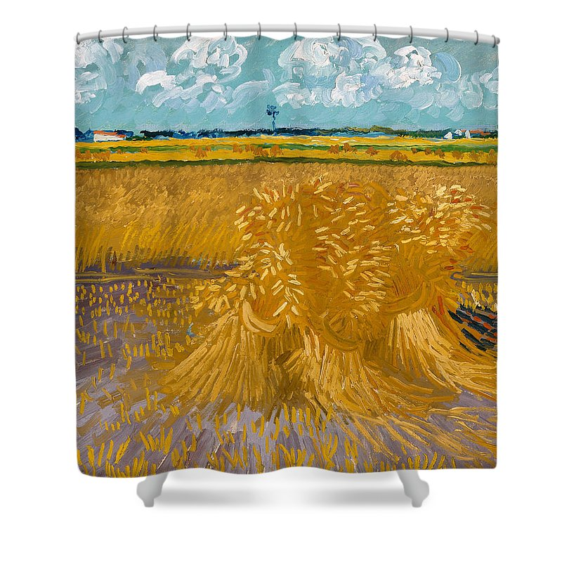 Clouds Shower Curtain featuring the painting Wheat Field by Vincent van Gogh