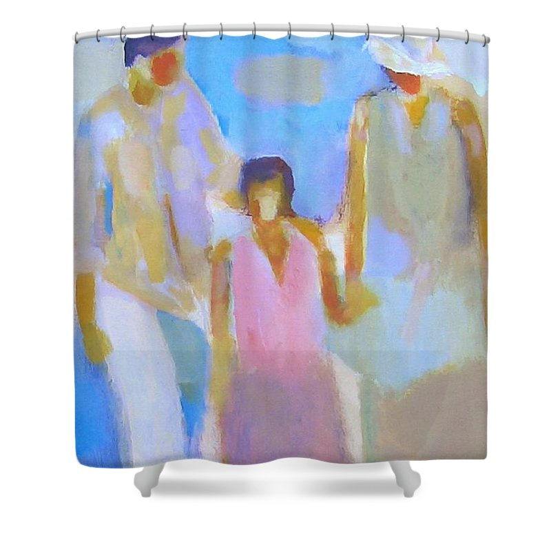 Abstract Shower Curtain featuring the painting 3 With Love by Habib Ayat