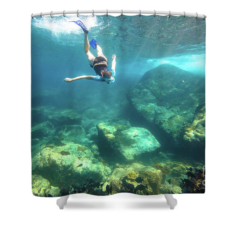 Snorkeling Shower Curtain featuring the photograph Woman Free Diving by Benny Marty