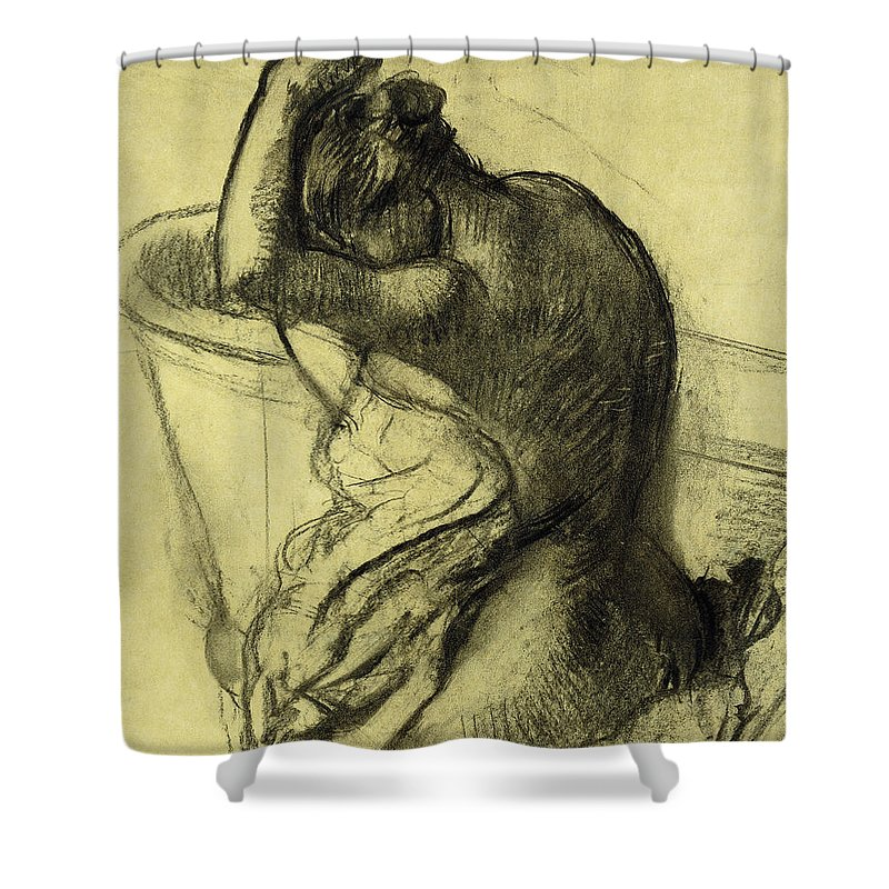 After The Bath Shower Curtain featuring the drawing After The Bath by Edgar Degas