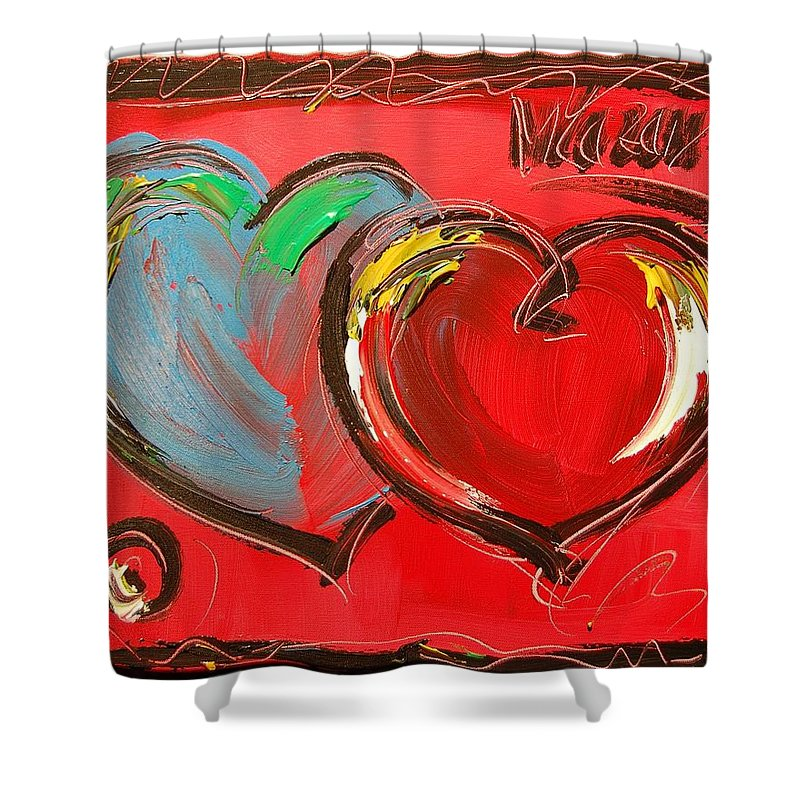 Impressionist Framed Prints Shower Curtain featuring the mixed media Hearts by Mark Kazav