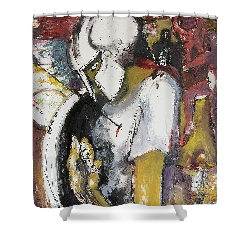 300 Shower Curtain featuring the painting 300 Outnumbered by Craig Newland