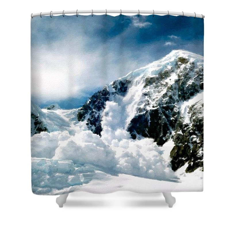 New Shower Curtain featuring the digital art G H Landscape by Usa Map