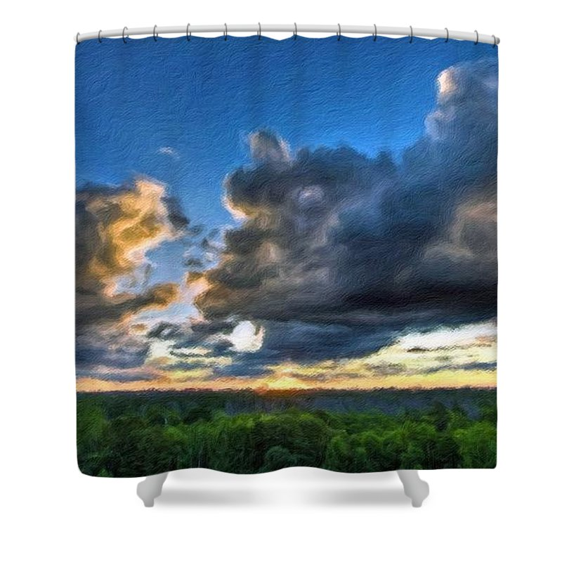In Shower Curtain featuring the digital art Landscape Nature by Usa Map