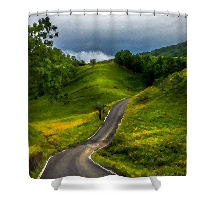 Paint Shower Curtain featuring the digital art Landscape Pictures by Usa Map