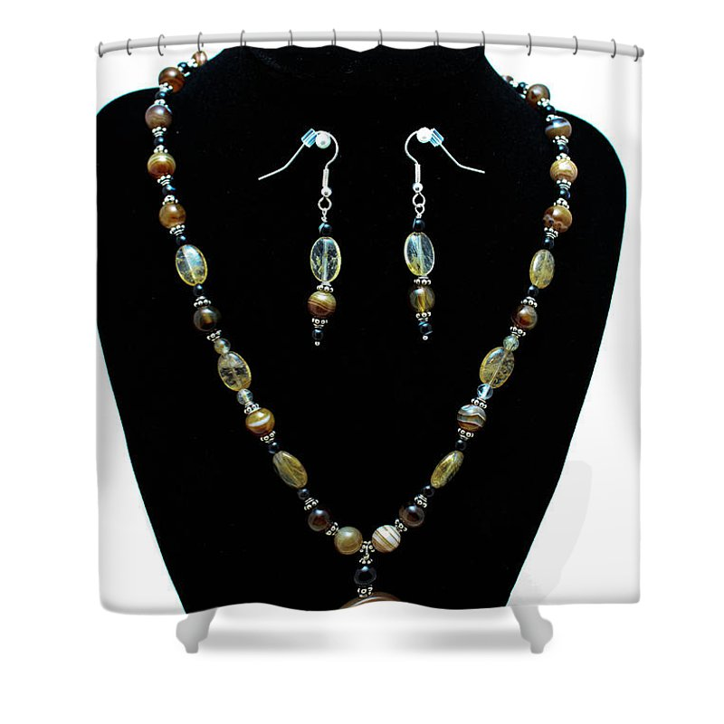 Jewelry Shower Curtain featuring the jewelry 3509 Amber Striped Onyx Set by Teresa Mucha