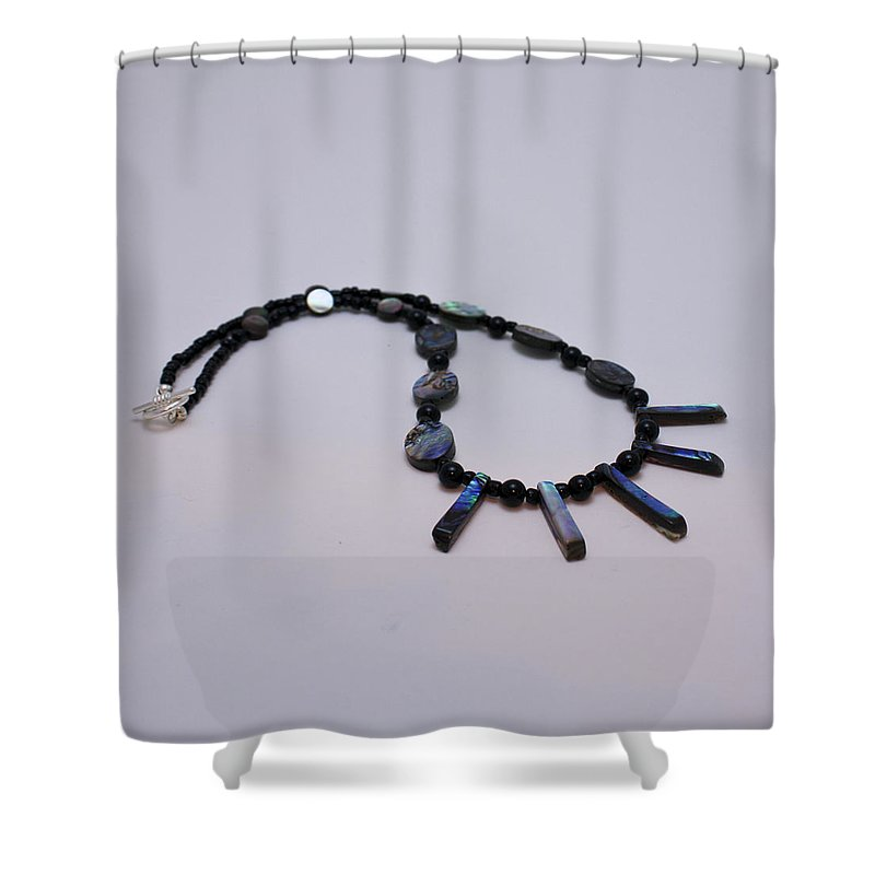 Jewelry Shower Curtain featuring the jewelry 3513 Abalone Shell Necklace by Teresa Mucha