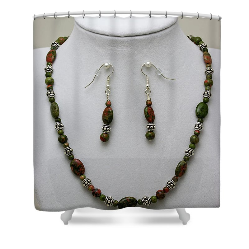 Handmade Shower Curtain featuring the jewelry 3525 Unakite Necklace And Earring Set by Teresa Mucha