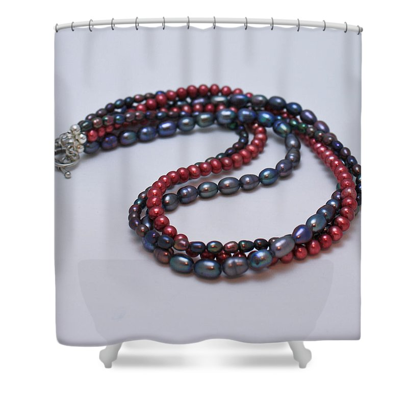 Jewelry Shower Curtain featuring the jewelry 3540 Triple Strand Freshwater Pearl Necklace by Teresa Mucha