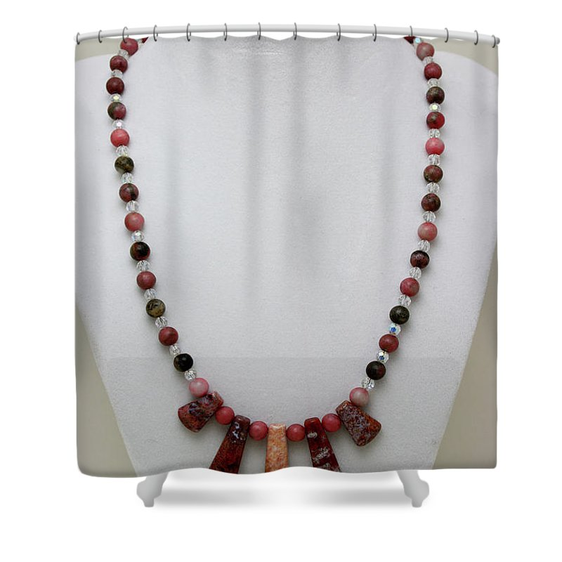 Handmade Shower Curtain featuring the jewelry 3541 Rhodonite And Jasper Necklace by Teresa Mucha