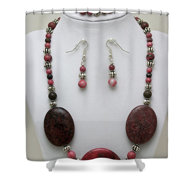 Handmade Shower Curtain featuring the jewelry 3544 Rhodonite Necklace Bracelet And Earring Set by Teresa Mucha
