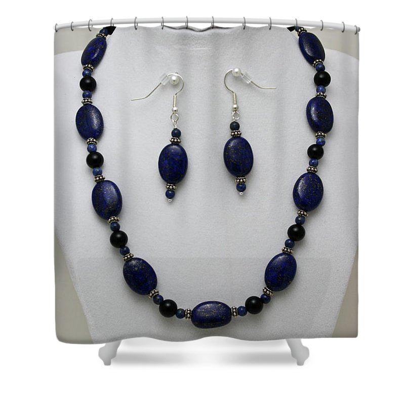 Handmade Shower Curtain featuring the jewelry 3555 Lapis Lazuli Necklace And Earring Set by Teresa Mucha
