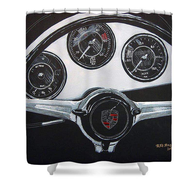 Porsche Shower Curtain featuring the painting 356 Porsche Dash by Richard Le Page
